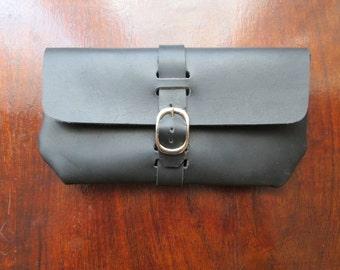 Handmade full grain leather clutch / wallet -- black & nickel