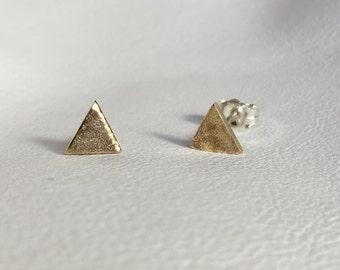 Simple Gold Handmade Triangle Stud Earrings