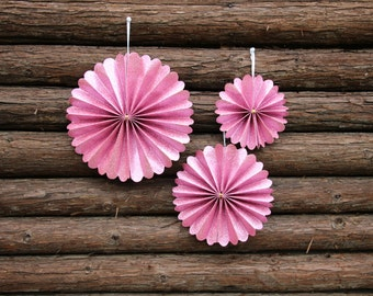 Pink Glitter  Paper Fans Round Wheel for Party, Event, Home Decoration Hanging Paper Rosettes