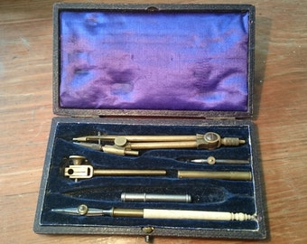Vintage Drawing Set. Brass and other.