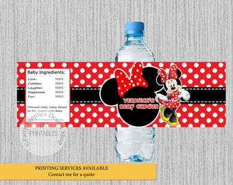 Minnie Mouse Baby Shower Water Bottle Labels,  Red Minnie Personalized Water Bottle Wrappers, DIY Printables, Minnie Party Supplies