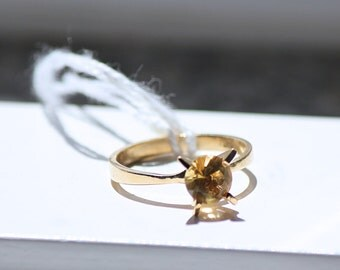 Solid Gold Ring 18K With Citrin Solitaire From Portugal