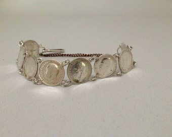 King George Silver Antique Three Pence Sweetheart Bracelet