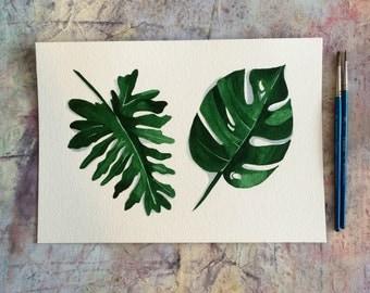 Watercolour Giclee Print - Philodenron Leaves