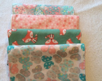 Adorable Flannel and Terry Cloth Burp Cloths