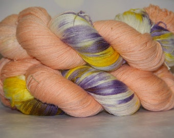 hand dyed yarn, 100% cashmere, 525 yards,  Pansies