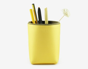 Pencil Holder, Brush Holder, Storage Box, Desk Organization, Geometric Pattern, Lemon Yellow