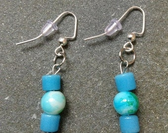 Blue and green beaded earrings