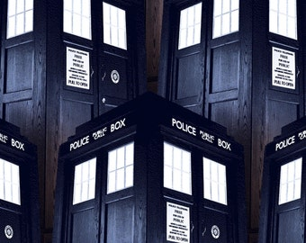 """Bbc Doctor Who Packed Tardis 100% cotton 44"""" wide fabric by the yard, SC346"""