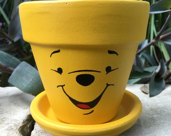 Pooh Bear Hand Painted Flower Pot