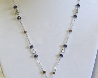 Lapis dolphin with Iolite and Andalusite necklace
