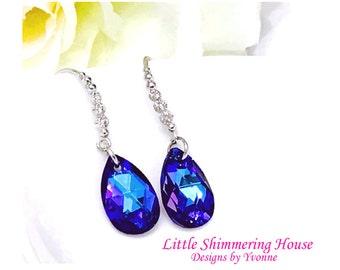 ER4 - Dazzling Swarovski Crystal Pear-Shaped Helitroupe Dangle Earrings
