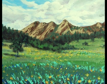 "Original Acrylic Painting, Canada Landscape-Mountain with yellow flower, 20""x16"",50.5x40.5cm, blue, green, yellow"
