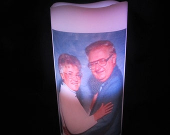 Flameless LED Photo Pillar Candle Battery Operated