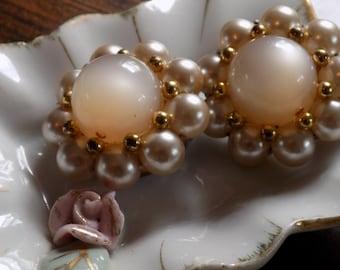 Earrings, Clip On Earrings, Bridal Jewelry, Vintage Earrings, Vintage Jewelry, Faux Pearl Earrings, White Earrings, Beaded Earrings,