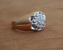 Vintage 18KT 18Karat HGE Seta  Gold Electroplate With Round Cut CZ Cubic Zirconia  Cluster Masculine Handsome GentlemanMen Man Ring Size 10