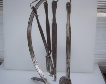R.A.G an Original and Unique Tough Hand Cut Cold Forged Fire Tool set for Open Fire and Coonarra