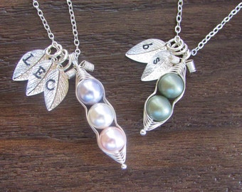 OPENING SALE PRICE!  Peas in a Pod Necklace | Peas in a Pod Pendant | Wire Wrapped Pendant | Hand Stamped Neckalce