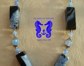 Short necklace of agates two-tone blue Jade and silver (925)