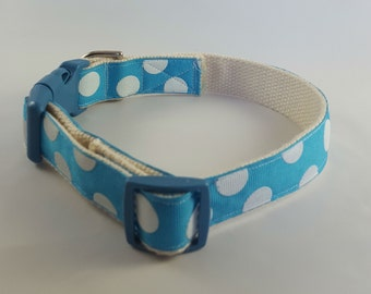Small-Medium dog collar, Blue/Wht Polka Dots