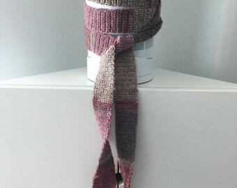Skinny Crochet Knit Scarf, Pink Purple Beige, Extra Long