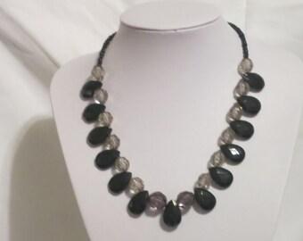necklace, black teardrop