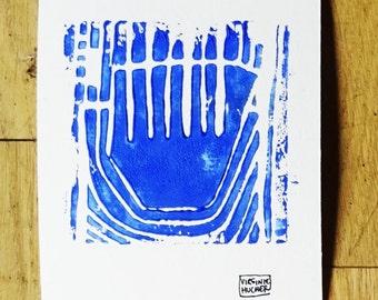 Composition 2 linocut blue