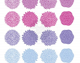 Flowers Clipart,dahlia flowers,flower clipart,purple flower,digital download