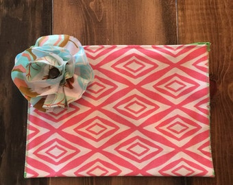 Cosmetic Bag in Pink and White