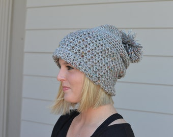 Slouchy Hat with Pom Pom
