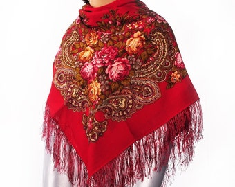 Russian, Authentic, Original, Pavlovo Posad Shawl, Scarf 100% Wool (Silk Fringe)