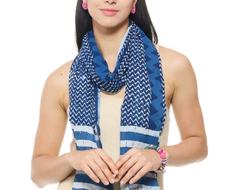 Hand block printed Indigo women scarf