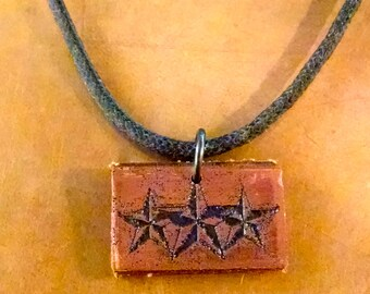 Copper Etched Nautical Star Necklace