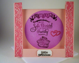 Newborn Baby Girl Card, Congratulations Card, Inverted Step Card, New Baby Card, Little Princess Baby Card, New Arrival