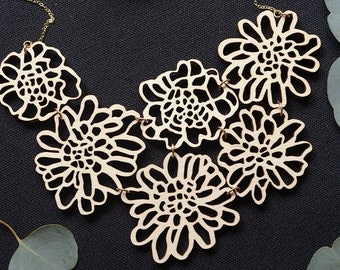 The Gladys - Candytuft Flower Necklace - Laser Cut Flower Necklace - Statement Piece - Wooden Flower Necklace