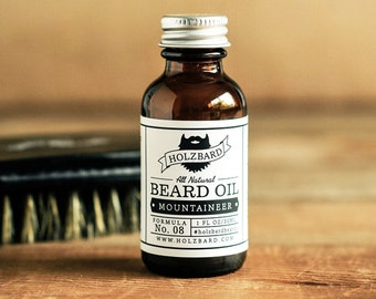 Mountaineer Beard Oil - Cedarwood, Pine, Peppermint, All Natural Beard Conditioner, Woodsy Mint Fragrance, Gifts for Men, Organic Beard Oil