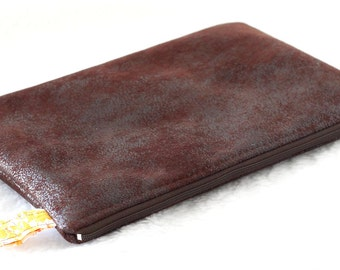 Large pocket for Tablet, cover, faux leather dark brown furnishings and Liberty of London Jody