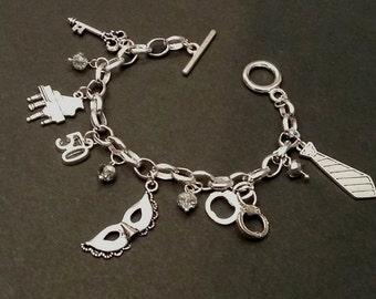 50/Fifty shades of Grey bracelet charm themed handmade jewelry - 50 shades Darker/Freed - Christian Grey - Anastasia Steel inspired bracelet