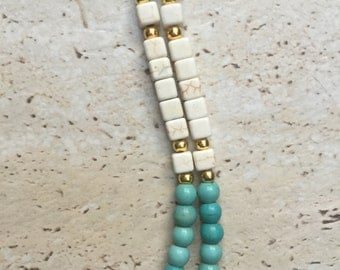 Howlite and Turquoise Beaded Necklace