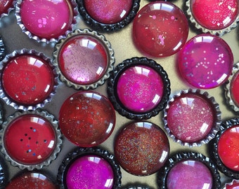 Handmade Rainbow RED Glitter Glass Magnets