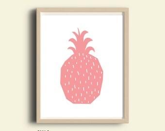 Girl nursery wall art, modern nursery art, fruit print, baby girl nursery print, girls room print, printable kids Pineapple art, pink decor
