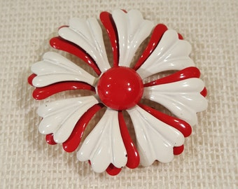 Vintage Metal Red and White Flower Brooch Pin