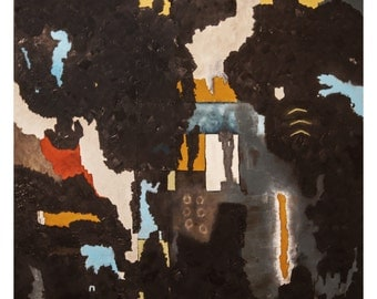 Large abstract modern expressionist painting, oil on canvas