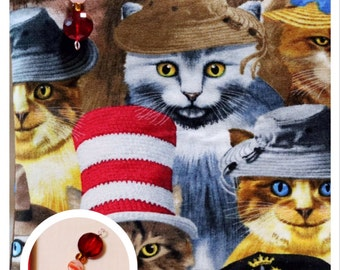 Cats in Hats Zipper Bag with Red Teardrop Zipper Pull