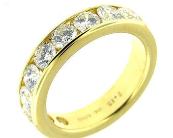 2.15 Ct Yellow Gold Diamond Ladies Wedding Band 18Kt
