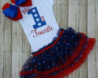 First 4th of July Outfit / Fourth of July Baby Outfit / Baby Girl Outfit / My First Fourth / Girl Outfit / Babys First Years