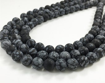 8mm Matte Snowflake Obsidian Beads,Round Gemstone Beads, Wholesale Beads