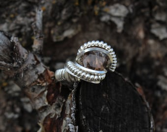 Smoky Quartz Wire Wrap Sterling Silver Ring