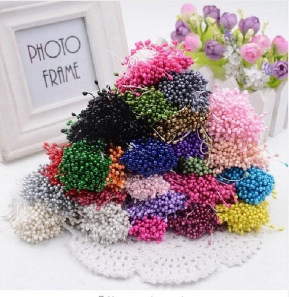 Cake Decorating Artificial Flowers : Artificial Flowers, 300PCS/Lot, Double Heads Stamen ...