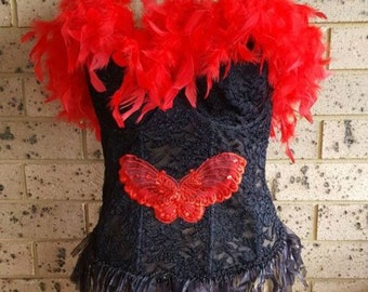Red and Black Feather Corset Bustier Gothic Steampunk Burlesque Punk Bustier Size 16DD